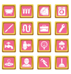 Plumber symbols icons set pink square vector