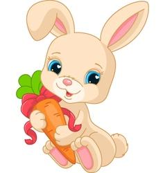Rabbit holds carrot vector image