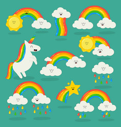 Rainbow among the clouds and unicorn vector