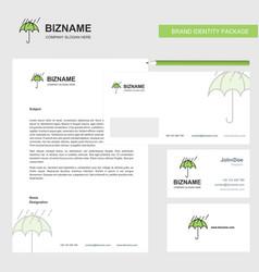 raining and umbrella business letterhead envelope vector image