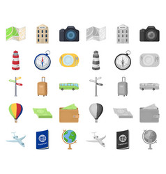 Rest and travel cartoonmono icons in set vector