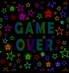 Retro game over neon sign on starry background vector