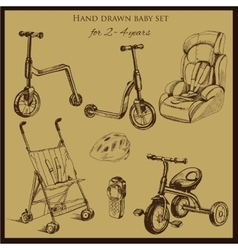 Retro hand drawn baby set for 2-4 years old vector