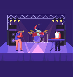 rock band performing on stage drummer trumpeter vector image