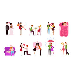 romantic couples young men and women dating vector image