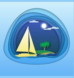 sailing yacht at sea with palm trees on island vector image