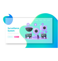 security characters monitoring surveillance system vector image