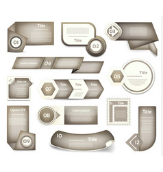 Set of grey progress version step icons vector
