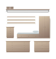 Set wardrobe furniture vector