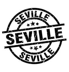 Seville black round grunge stamp vector