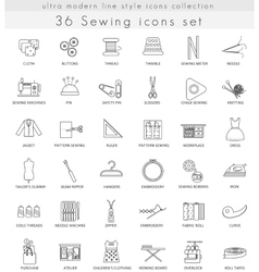 Sewing ultra modern outline line icons for vector
