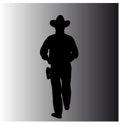 Silhouette a walking man with a hat vector