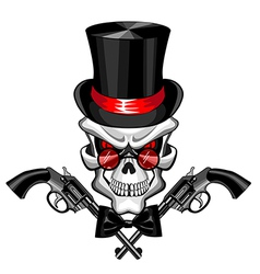 skull wearing a hat with a pistol vector image