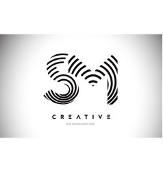sm lines warp logo design letter icon made with vector image