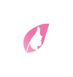 spa aesthetic girl logo template vector image