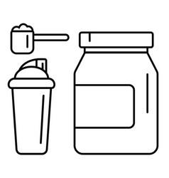 Sport nutrition supplement drink linear vector