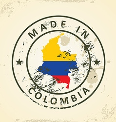 Stamp with map flag of Colombia vector image