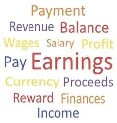 Tag cloud Earnings with synonyms vector image