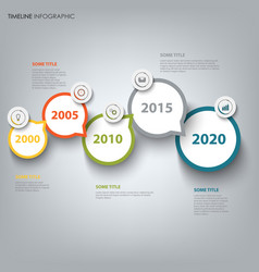 time line info graphic with round design vector image