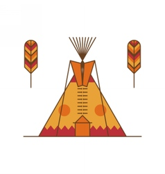 Traditional native american tipi and feathers vector