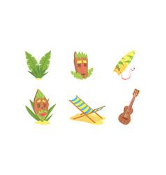traditional symbols hawaiian culture set vector image