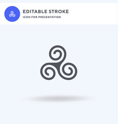 Triskele icon filled flat sign solid vector