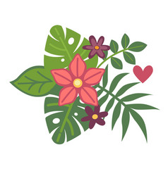 Tropical exotic plants in fresh floristic summer vector