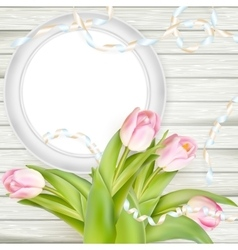 Tulips and blank white frame EPS 10 vector image