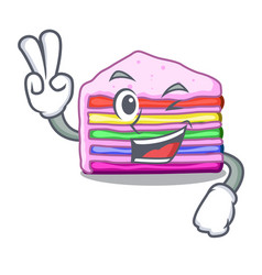 Two finger rainbow cake isolated in the character vector