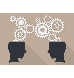 Two human head with gear vector