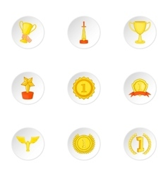 Victory icons set cartoon style vector image