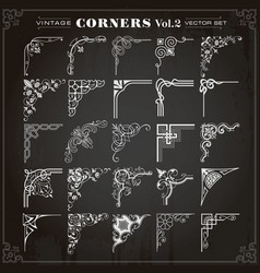 Vintage design elements corners and borders set 2 vector