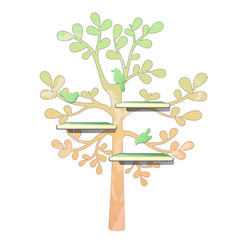 Wall wooden shelves and tree pattern with birds vector