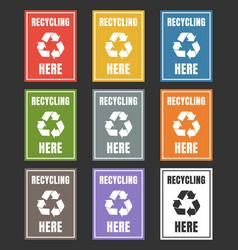 waste sorting labels set waste managment for vector image