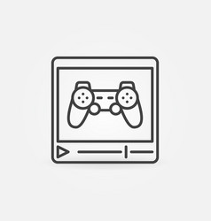 web video player with gamepad outline icon vector image
