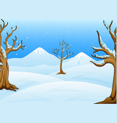 Winter landscape with mountain and bare trees vector