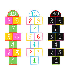with hopscotch game drawn in colored vector image
