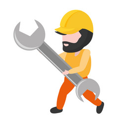 worker holding wrench tool vector image