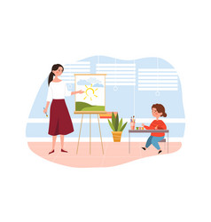 young cute girl in drawing class at school with a vector image