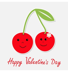 Cartoon cherries with happy faces Valentines day vector image vector image