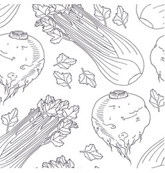 hand drawn seamless pattern with celery vector image vector image