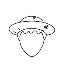 Line cute man face with hat vector