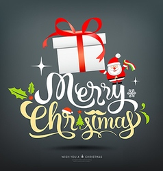 Merry christmas greeting card lettering gift box vector
