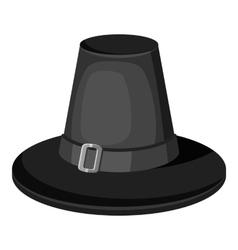 Pilgrim hat icon gray monochrome style vector image