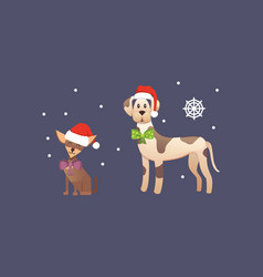 set of cute dogs in red santas hat christmas vector image vector image