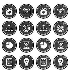 Website navigation icons on retro labels set vector image
