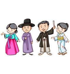 Asian people vector image vector image