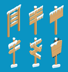 isometric wooden signs with snow wooden old vector image