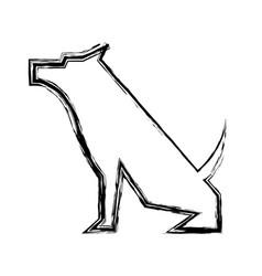 pet dog mascot silhouette vector image