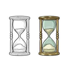 retro hourglass vintage engraving vector image